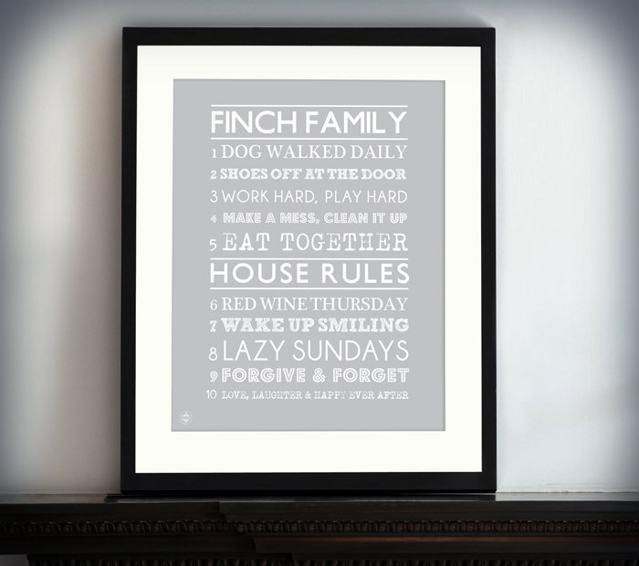House Rules Typographic Art Prints