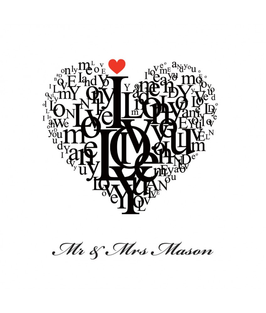 love heart print personalised
